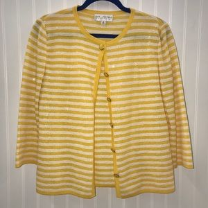 St. John Collection Yellow & White Cardigan
